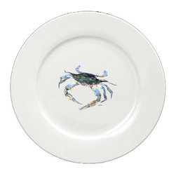 Caroline's Treasures - Blue Crab Looking at U Round Ceramic White Dinner Plate 8657-DPW-11 - Blue Crab Looking at U Round Ceramic White Dinner Plate 8657-DPW-11 Heavy Square Ceramic Plate 11 inches. LEAD FREE, dishwasher and microwave safe. The plate has been refired over 1600 degrees and the artwork will not fade or crack.