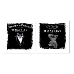 """Studio D&K - Two Piece Art Set • Vintage French Poster Style Prints, 14"""" X 14"""" - Set of two black and white vintage French poster style art prints"""