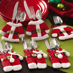 Santa Suit Christmas Silverware Holder Pockets - This set of charming and detailed pockets for silverware would be a great addition for a fun kids' Christmas table.