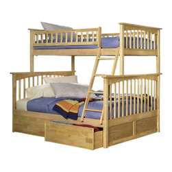 Atlantic Furniture - Atlantic Furniture Columbia Twin over Full Bunk Bed-Natural Maple - Atlantic Furniture - Bunk Beds - AB55205 - The Atlantic Furniture Columbia Twin over Full Bunk Bed has a clean modern look with subtle Mission styling. The simple lines of the head and foot boards have the square posts and slats characteristic of this design. This versatile bunk bed is available in a number of options that is sure to please both you and your child.