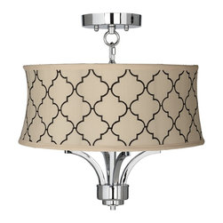 "Lamps Plus - Traditional Fortuna Chrome 17"" Wide Cream Moroccan Tile Ceiling Light - The Fortuna semi-flushmount ceiling light comes in a chic chrome finish and has four candelabra style lights. The design offers the classic look of a chandelier and is updated with a stylish designer Moroccan tile print shade in cream. A wonderfully refreshing designer look for your living space.  Chrome finish. Cream fabric shade with Moroccan tile print. Semi-flushmount ceiling light. Takes four 40 watt candelabra bulbs (not included). 15"" high. Chandelier only is 13"" wide 9"" high. Shade is 16"" across the top 17"" across the bottom 7"" high. Canopy is 5 1/2"" wide. Some assembly required; instructions included.   Chrome finish.  Cream fabric shade with Moroccan tile print.  Semi-flushmount ceiling light.  Takes four 40 watt candelabra bulbs (not included).  15"" high.  Chandelier only is 13"" wide 9"" high.  Shade is 16"" across the top 17"" across the bottom 7"" high.  Canopy is 5 1/2"" wide.  Some assembly required; instructions included."