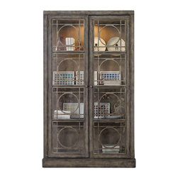 Silver Nest - Emcompass Display Cabinet - Antiqued Finish Wood Trim with Circle Motif Glass Doors Display Cabinet.