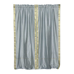 Indian Selections - Pair of Gray Rod Pocket Sheer Sari Curtains, 60 X 96 In. - Size of each curtain: 60 Inches wide X 96 Inches drop. Sizing Note: The curtain has a seam in the middle to allow for the wider length