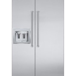 "Viking 42"" Professional Series Quiet Cool Side-by-Side Refrigerator - The Professional side-by-side refrigerator/freezer complements the professional-style kitchen in both form and function. The side-by-side refrigerator/freezer with ice and water dispenser provides the same professional performance, with the added convenience of cubed ice, crushed ice, and chilled water in easy one-handed operation."