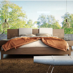Monroe Walnut Platform Bed with White Headboard Pillows -