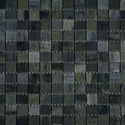 "Glass Tile Oasis - Tumbled/Twilight-Sold by the Box 1"" x 1"" Black Kitchen Tumbled Glass and Slate - Sheet size:  12 3/4"" x 12 3/4"".     Tile Size:  1"" x 1""      Tiles per sheet:  121     Tile thickness:  1/4""      Grout Joints:  1/8""     Sheet Mount:  Mesh Backed     Sold by the box - 5 sheets per box    -  Customize your hardest working surfaces with our Slate series. Choose from many patterns and an array of colors in honed and cleft finishes."
