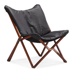 ZUO MODERN - Draper Lounge Chair Black - Curl up in perfect comfort with our Draper lounge chair. The Draper is wrapped in a soft luxurious leatherette on top a wooden collapsible base. Comes in white or black.