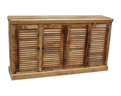 YOSEMITE HOME DECOR - 4-Door Sideboard - This decorative console features four shutter styled front doors. Made of solid mango wood in a natural distressed textured finish. A solid mango inner shelf provides ample storage space. Assembled and Made in India.    Item Dimension in 66inches Width X 14inches Depth X 37inches Height