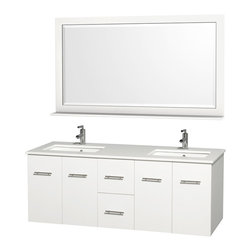 Wyndham - Centra Vanity Double 60in. in White w/ White Stone Top & Square sinks - Simplicity and elegance combine in the perfect lines of the Centra vanity by the Wyndham Collection. If cutting-edge contemporary design is your style then the Centra vanity is for you - modern, chic and built to last a lifetime. Available with green glass, white carrera marble or pure white man-made stone counters, and featuring soft close door hinges and drawer glides, you'll never hear a noisy door again! The Centra comes with porcelain, marble or granite sinks and matching mirrors. Meticulously finished with brushed chrome hardware, the attention to detail on this beautiful vanity is second to none.
