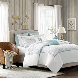 Harbor House - Harbor House Maya Bay Duvet Cover Mini Set - Bring the ocean into your home with the Harbor House Maya Bay Collection. A soft seafoam blue is the accent color used in this beach themed duvet cover and shams playing up the seashell and sand dollar embroidery.