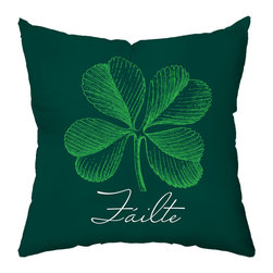 "Checkerboard Ltd - Luck of the Irish Decorative Throw Pillow - 18"" x 18"" - Irish pride! Make it St. Patrick's Day every day. Luck of the Irish amid shamrocks on one side, 'Failte,' the Irish 'welcome,' on the other. Our softly textured fabric is long-lasting, wrinkle-resistant and feels as great as it looks."