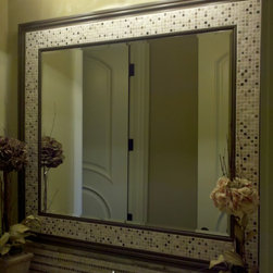 Miscellaneous Mirrors - Micro stone mosaics in this mirror frame add a unique decorative element to this bathroom. The espresso finish on the framework compliments the cabinet below.  A complimentary mosaic for the back splash adds another custom touch.
