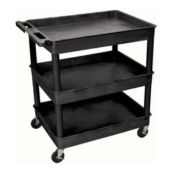 Luxor Furniture - Large Tub Cart in Black - Includes four heavy duty 4 in. casters. Two casters with brake. Three shelves. Molded plastic shelves. Retaining lip around the back and sides of flat shelves. Push handle molded into the top shelf. Reinforced shelves with two aluminum bars. 2.75 in. deep shelves. 10.75 in. clearance between shelves. Made from high density polyethylene structural foam molded plastic. Made in USA. 32 in. L x 24 in. W x 37.25 in. H. Warranty. Part List