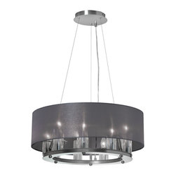 Dainolite - 9 Light Chandelier, Satin Chrome, Black Organza Shade - -Main Body Material: Organza
