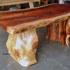 "Natural Edge Dining Table With Tree Trunk Legs, 40"" x 8'-0"" long x 30"" tall - Woolstenhulme Residence, Nampa, Idaho - A beautiful natural edge table measuring 36"" x 8'-0"" x 30"" tall.  The monkeypod wood slab is 3"" thick and the legs are section of a monkeypod tree, cut in half.  Nice, rustic design."