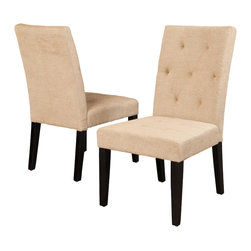 Great Deal Furniture - Dacey Fabric Dining Chairs, Light Brown, Set of 2 - The Dacey dining chair provides comfort and elegance to any room. This piece is upholstered in rich fabric and features a well-padded tufted seat and backrest for added style and stands on espresso stained wooden legs. Its wide seat makes this chair roomy enough to use as an accent chair.