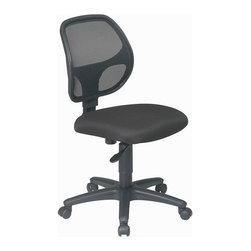 Office Star - Work Smart EM Series EM2910 Mesh Screen Back Task Chair with Fabric Seat - Mesh screen back task chair with black fabric seat. Breathable screen back and fabric seat with built-in lumbar support. One touch pneumatic seat height adjustment. Heavy duty nylon base with dual wheel carpet casters.