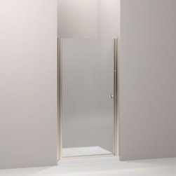 """KOHLER - KOHLER Fluence(R) pivot shower door, 65-1/2"""" H x 35 - 36-1/2"""" W, with 1/4"""" thick - With a frameless, versatile design and a Falling Lines glass pattern, the Fluence pivot shower door adds contemporary style. The door allows 1-1/2-inch adjustability for out-of-plumb installations and can be installed to open from the left or right to fit the layout of your room."""