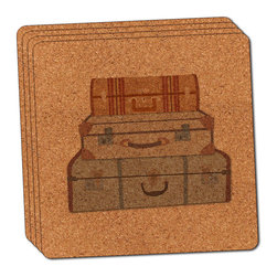 """Made on Terra - Vintage Luggage Suitcase Travel Thin Cork Coaster Set of 4 - You're just cleaning up after your epic party when you realize it... something's different. Unlike all those other times, you're not mopping up cup condensation from your counters and tables. This time, everyone used a coaster. Everyone. Maybe it's because you handed out a coaster with every glass. No. You've tried that before. No, this time it's because of the actual coasters. You found the cutest Made On Terra printed cork coasters. You love that everyone commented on how unique they were,  from the light-weight, thin cork material to the printing that creates a cool and subtle effect. Plus, they're really absorbent, but dry quickly. And they're made from an eco-friendly, sustainable resource, so that makes you feel pretty great, too. Choose from Made on Terra's many fabulous cork coasters. Measures 4"""" x 4"""" x 1/8"""". Made of thin cork. Super cute and nicely absorbent. Sold in sets of four."""