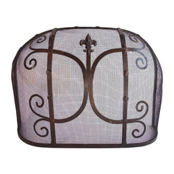 Pre-owned Hand-wrought Iron Fireplace Screen - A lovely classic hand-wrought iron fireplace screen, with scroll and Fleur-de-lis motif detailing. Just in time for fireplace season!