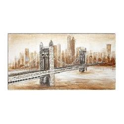 "Benzara - Bridge Burnt Sienna Style Canvas Art 55""W, 28""H Wall Decor - Bridge Burnt Sienna Style Canvas Art 55""W, 28""H Wall Decor."