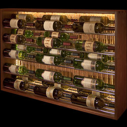 Kessick Wine Cellars - Horizontal display on chrome bars with LED back-lighting. Walnut frame and copper background.