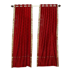 Indian Selections - Red Ring Top  Sheer Sari Curtain / Drape / Panel   - 80W x 120L - Piece - Size of each curtain: 80 Inches wide X 120  Inches drop. Sizing Note: The curtain has a seam in the middle to allow for the wider length  Made from Polyester Sari fabric  Top: 2 Inch Ring Top. Can accommodate rods up to 1.5 inches diameter  Machine Wash