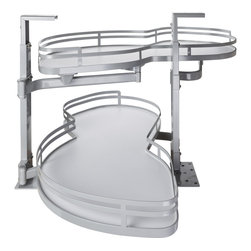Hardware Resources - Blind Corner Swing Out  Left Handed Unit.  21 Opening - Blind Corner Swing Out  Left Handed Unit. Minimum 21 opening for Frameless or Face Frame Cabinets. White laminated shelves with powder coated edging  ships complete with installation instructions.