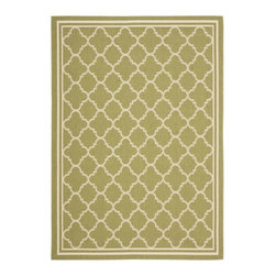 "Safavieh - Poolside Green/Beige Indoor/Outdoor Polypropylene Rug (8' x 11'2"") - Add captivating style to your deck, porch or patio with this lovely indoor/outdoor rug featuring a beige border pattern against a green background. This versatile rug has a low pile for easy maintenance and complements any style of outdoor furnishings."