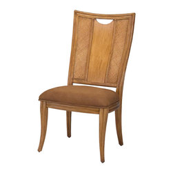 American Drew - American Drew Antigua Splat Back Side Chair in Toasted Almond - Set of 2 - Antigua combines popular materials, finishes, hardware and shapes and blends them with pieces for today's lifestyles. It is a collection sure to add a sophisticated coastal or tropical flare to any home. Unique options for bedroom make it easy to create the perfect setting that fits your style.