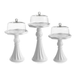 Jay Import Co. - Cake Pedestal with Glass Dome, Set of 3 - Spiraling up to reveal the pastry of your choosing, this adorable set of pedestals will help you present your dessert in the utmost style. Whether it's pies, cakes or even donuts, everything will be elevated by this display.