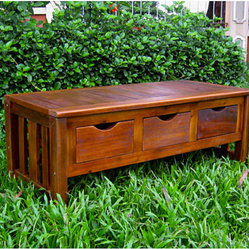 Large 3-drawer Acacia Bench