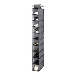 None - Kennedy Home Collection Grey 10-shelf Shoe Organizer - Add the Kennedy Home Collection Shoe Organizer to expand,sort and clean up any closet space. This functional storage solution features ten shelves,easy installation,and a collapsible design.