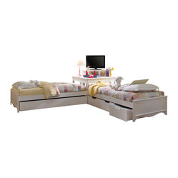 Lea Haley Twin Platform Beds with Corner Unit in White