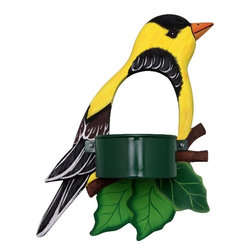 Songbird Essentials - Goldfinch Window Birdfeeder - Bring feathered friends closer to you with Songbird Essentials' window birdfeeders. Each feeder is hand-carved from albesia wood, a renewable resource, then hand painted on both sides and coated with polyurethane for added protection. Designed with a hole to watch the visiting bird, one side includes suction cups to firmly attach the feeder to a window. The feeding side has a finished metal cup with a screen bottom to keep seeds dry.