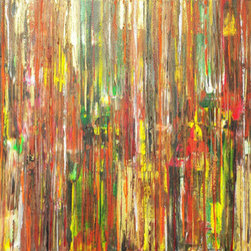 Scene Through A Grove (Original) by Frances Jemini - I imagine a garden party seen through very thick bright foliage. I enjoy the stark contrast of autumn inspired colors in the rigid vertical framework.