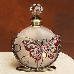 Artico - Crystal Butterfly Perfume Bottle with Gold Colored Swirl Design, Red - This gorgeous Crystal Butterfly Perfume Bottle with Gold Colored Swirl Design, Red has the finest details and highest quality you will find anywhere! Crystal Butterfly Perfume Bottle with Gold Colored Swirl Design, Red is truly remarkable.