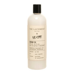 Le Labo Rose 31 Signature Detergent - 16 oz - A much better alternative to hiding your chosen scent beneath a sweater is perfuming the weave of your garments with the same subtle high-class aromas you wear on your body.  Le Labo Rose 31, a unisex rose scent with the ambiguous robustness of cedar and the faint surprise of cumin among the undertones in its lush aroma, is the delicious fragrance found in this top-end all-purpose laundry detergent, a sensual soap for clothing and linens that carry pleasure wherever they go.