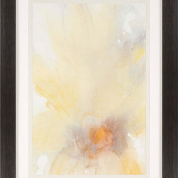 Paragon Decor - Micro II Artwork - A soft flower blossom is fine-spun in shades of yellow.  Framed in wood finish molding.