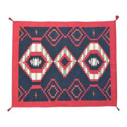 Hand Woven Area Rug, 5X7 Colorful 100% Wool Flat Weave Navajo Design Rug SH11485 - Soumaks & Kilims are prominent Flat Woven Rugs.  Flat Woven Rugs are made by weaving wool onto a foundation of cotton warps on the loom.  The unique trait about these thin rugs is that they're reversible.  Pillows and Blankets can be made from Soumas & Kilims.