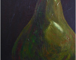 Up Close And Pearsonable (Original) by Rosie Phillips - This is a close up painting of a pear that is rich and vibrant in color! It is gallery wrapped and could be framed or not. It comes ready to hang without a frame. I painted this with acrylic paints in rode to get the rich color blending of the greens and browns. The dark background makes this pear pop!