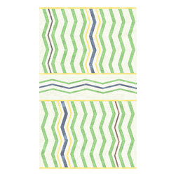 Custom Cool - Chevron Rug 3x5 Cotton Kilim Cream, Green, Yellow &Blue - Hand crafted by master Indian weavers utilizing techniques passed on through the ages, this stonewashed Cotton Kilim has a casual sophistication and informal charm.  Produced with the highest standards of fair trade manufacturing the traditional Chevron pattern is reinterpreted to create a rug that is both chic and timeless in its appeal. Hand-stitched binding and slightly uneven edges imbue this rug with a casual and relaxed feel, this stonewashed Cotton Kilim has a relaxed, seaside playfulness with bright timeless graphics.Our rugs are not just beautiful to look at but have ingrained within them the priceless beauty of ethical manufacturing.  Each and every Custom Cool rug is GoodWeave certified ensuring that no child labor is involved in their making.  A percentage of every rug we make goes directly to help support GoodWeave in its tireless efforts to end child labor in the textile industry.