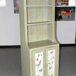 Reclaimed wood bookshelf in bayberry paint - Made by http://www.ecustomfinishes.com