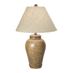 "Lamps Plus - Rustic - Lodge Desert Oasis Table Lamp - An earthy finish gives this traditional table lamp an unexpectedly contemporary appeal. It features a jar-shaped body covered in a speckled brown finish and a linen empire shade up top. Pueblo brown finish. Linen shade. Takes one 150 watt bulb (not included). 29 1/2"" high. Shade is 8"" across the top 19"" across the bottom and 11"" high.  Desert Oasis table lamp.  Earth tone colors.  Speckled brown finish.  Linen shade with finial.  Hand painted details.  Takes one 150 watt bulb (not included).  29 1/2"" high.  Shade is 8"" across the top 19"" across the bottom and 11"" high."