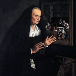 """Leandro Bassano Portrait of a Widow at her Devotions   Print - 16"""" x 20"""" Leandro Bassano Portrait of a Widow at her Devotions premium archival print reproduced to meet museum quality standards. Our museum quality archival prints are produced using high-precision print technology for a more accurate reproduction printed on high quality, heavyweight matte presentation paper with fade-resistant, archival inks. Our progressive business model allows us to offer works of art to you at the best wholesale pricing, significantly less than art gallery prices, affordable to all. This line of artwork is produced with extra white border space (if you choose to have it framed, for your framer to work with to frame properly or utilize a larger mat and/or frame).  We present a comprehensive collection of exceptional art reproductions byLeandro Bassano."""