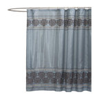 Lush Decor - Royal Dynasty Blue Shower Curtain - Includes 1 Shower curtain. Fabric Content:100% Polyester. Care Instructions: Dry clean. 72 in. W x 72 in. H The name says it all as this shower curtain is perfect to create that special bathroom you have always wanted. Regal in appearance and fit for your royal family, this faux silk design is highlighted with wonderful embroidery detail.