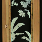 """artist/handmade/custom - Patio Door, Illuminated Engraved Art, Tropical Theme - This is a beautiful and fun art piece designed to be used as a stand-up corner piece to fill a corner of a room or an actual patio or interior door. The center panel is 3/8"""" clear acrylic that has been engraved with the artwork. LED lighting in the frame of the door bounces off the engraved art to illuminate it. The LEDs are multicolor allowing you to change the color of the art anytime you choose. Only one side is trimmed in bamboo."""