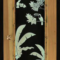 "artist/handmade/custom - Patio Door, Illuminated Engraved Art, Tropical Theme - This is a beautiful and fun art piece designed to be used as a stand-up corner piece to fill a corner of a room or an actual patio or interior door. The center panel is 3/8"" clear acrylic that has been engraved with the artwork. LED lighting in the frame of the door bounces off the engraved art to illuminate it. The LEDs are multicolor allowing you to change the color of the art anytime you choose. Only one side is trimmed in bamboo."