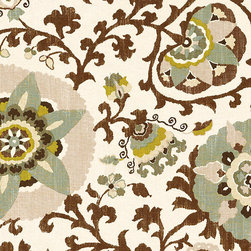 """Ballard Designs - Fiona Brown Fabric By The Yard - Content:55% linen and 45% rayon. Repeat: Non-railroaded fabric. Care: Dry Clean. Width: 54"""" wide. Lavish Suzani print in tones of mocha, chocolate, cream, slate and moss printed on supple linen/rayon blend.. .  . . Because fabrics are available in whole-yard increments only, please round your yardage up to the next whole number if your project calls for fractions of a yard. To order fabric for Ballard Customer's-Own-Material (COM) items, please refer to the order instructions provided for each product. Ballard offers free fabric swatches: $5.95 Shipping and Processing, ten swatch maximum. Sorry, cut fabric is non-returnable."""