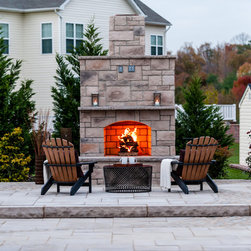 Techo-Bloc - Outdoor Techo-Bloc Fire Place - Bring the comfort of a cozy fireplace to the outdoors with the Techo-Bloc Foyer Fireplace. Extend the season and circle around while it warms hearts and roasts marshmallows!  Fits into any landscape environment.